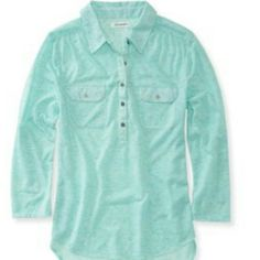 Aeropostale Sheer-back Woven Popover Shirt Never worn chic layered look. Perfect paired with white camis or tanks. Chiffon back panel, while two button-flap chest pockets. Aeropostale Tops