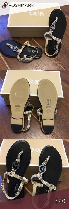 Michael Kors Snake  Embossed Leather Sandals NIB sandals- beige snake pattern with silver accents Michael Kors Shoes Sandals