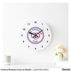 Custom Business Logo on Simple White Background Large Clock How To Make Wall Clock, Large Clock, Business Logo, Create Your Own, Display, Simple, Design, Floor Space, Billboard