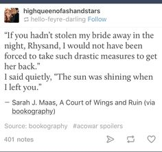 ACOWAR SPOILERS | You tell him Feyre