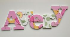 Hand Painted Wooden Letters, Name Hangings - Birds for Girls Room or Nursery Room by www.caribimbi.com