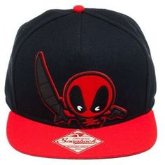 MARVEL COMICS UNIVERSE KAWAII DEADPOOL X-MEN SNAPBACK HAT CAP FLAT BILL BLK RED