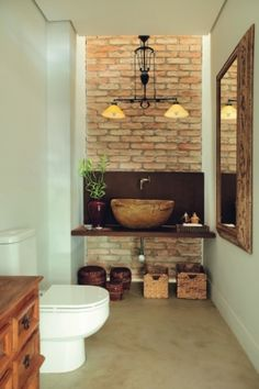 LOVE the sink!!! I don't normally like brick...but it looks really great here.