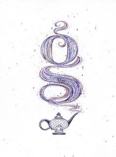 Maggie Enterrios on Behance- Creative hand lettering design, serif lowercase g monogram Lettering Design, Hand Lettering, Fantasy Logo, Umbrella Tattoo, Genie In A Bottle, Bottle Tattoo, Type Treatments, Serif, Lowercase A
