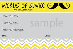Moustache-Baby Advice Cards, words of wisdom, mustache baby shower game, little man