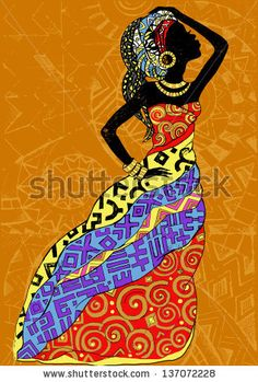 Hand drawn illustration Beautiful black woman.African woman - stock vector