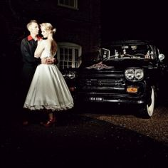 I have a fun and fabulous wedding for you today it's Pen and Jeff's Black and Red Fifties, Rockabilly Wedding shot by Miki Photography.