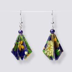 Origami Flower Drop Earrings - HZ200 Dangly Earrings, Drop Earrings, Origami Artist, Origami Flowers, Japanese Paper, Blooming Flowers, Handmade Accessories, Great Gifts, Pearls