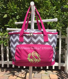 Chevron insulated Cooler Bag - FREE Monogram or Name - Great for Brides, Birthday, Housewarming, tailgates, beach, camping, fishing, boating by UniqueMemoriesLeAnn on Etsy