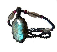 LABRADORITE macrame Necklace- Stone of TRANSFORMATION- shaman healing crystal bohemian ethereal