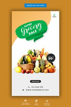 Fresh grocery sale banner | Premium Psd #Freepik #psd #banner #food #sale #shopping Web Banner, Food Banner, Sale Banner, Banner Template, Banners, Supermarket Logo, Fresco, Food Menu Design, Healthy Groceries