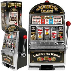 "Features:  -Slot machine bank.  -Requires 2 ""AA"" batteries for light and bell- not included.  Plays Sound: -Yes.  Pull Lever: -Yes.  Game Type: -Slot Machine. Dimensions:  Overall Height - Top to Bott"