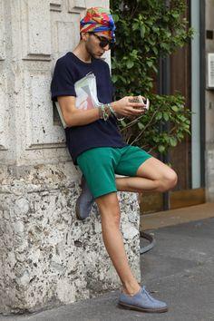 Uber cool turban spied today at Milan Men's Week.  WGSN street shot