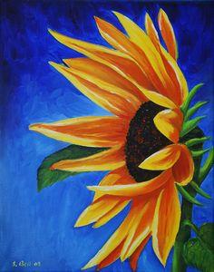 Sunflower On Blue ~ Susie Bell