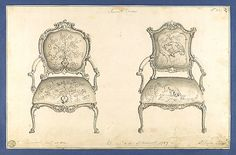 French Chairs, in Chippendale Drawings, Vol. I, Thomas Chippendale, ca. 1753-54, Black ink and gray wash drawings