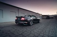 The SpeedKore carbon fiber rear bumper, diffuser, wing, rockers, and aero fender flares perfectly accentuate the HRE wheels that are wrapped in Michelin rubber. Ford Mustang Convertible, Fender Flares, Carbon Fiber, Diffuser, Rockers, Wheels