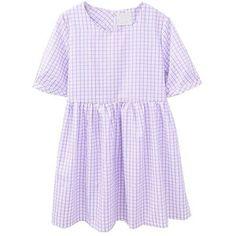 Gingham Checks High Waist Cotton Dress in Purple