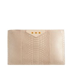 Alika - Python Large Pouch Nude Python Skin, Orange Topaz Handcrafted in Gold Classic Collection, Python, Topaz, 18k Gold, Pouch, Nude, Handbags, Orange, Luxury