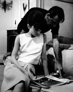 Audrey Hepburn and William Holden on the set of Paris When it Sizzles at the Studio de Boulogne in Paris, France, 1962.