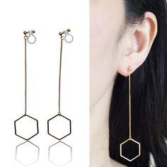 Dangle Long Gold Hexagon Invisible Clip on Earrings Minimalist Theader Clip Earrings Geometrics Clip-on Non Pierced Earrings Chic Earrings by MiyabiGrace on Etsy