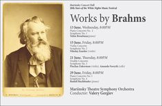 The complete Brahms cycle at the Mariinsky Concert Hall during the 20th Stars of the White Nights Music Festival: 13, 15, 21 & 29 June 2012.