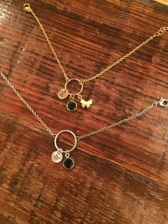 Hand Stamped Initial by bubsandsass on Etsy Charm Necklaces, Charm Bracelets, Eternity Rings, Initial Charm, Hand Stamped, Birthstones, Initials, Gold Necklace, Charmed
