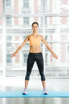 To Work Your Arms: W Inversions  Works shoulders and triceps.  Stand with feet slightly wider than shoulder-width apart. With palms flat, bend elbows, bringing arms into a W position. Extend arms up into a V, then back into a W. Next extend arms down in an inverted V, palms facing back, as shown. Do 30 times.