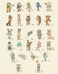 Impresión del arte de la pared para niñosABC animales por holli