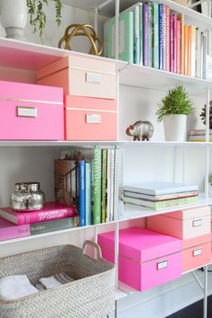 pretty, pink, organized study space