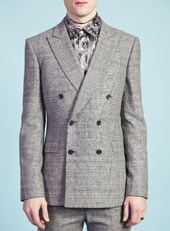 AW12 - Topman Design AW12 / TMD Grey Textured Print Double Breated Suit Jacket