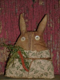 Primitive Grungy Chubby Bunny Rabbit Stump Doll ~ Carrot ~ Ro's Cluttered Attic