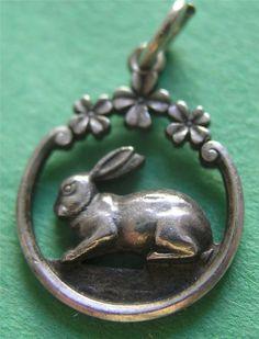 Antique Art Nouveau - German 800 Silver  -  Bunny Rabbit w Clover Charm