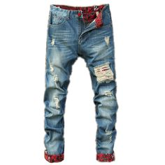 Find skull clothing and accessories for men and women Men Ripped Jeans ... New items added daily http://rebelstreetclothing.com/products/men-ripped-jeans-runway-distressed-slim-mens-elastic-jeans-denim-biker-jeans-hiphop-pants-washed-jeans-for-men-blue