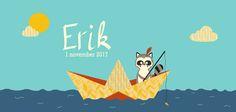 Geboortekaartje jongen - Erik - Pimpelpluis - www.pimpelpluis.be (# jongen - wasbeer - boot - bootje - vissen - zee - zon - wolk - vrolijk - speels - stoer - retro - vintage - origineel)