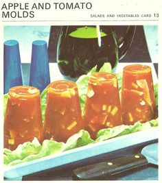 Apple and Tomato Molds (Marguerite Patten's Recipe Cards, 1967) - Diced apples and ham suspended in gelled tomato juice....
