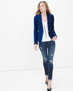 Plush blue velvet, sharply tailored, peaked lapels and golden designer-inspired buttons…a blazer so gorgeous you'll want to live in it forever. Team it with a white woven cami and destructed sequin skinny jeans for a trendy holiday look. Peek inside for details like white contrast piping. Velvet blazer jacket in blue depths Peaked lapels Flap pockets Single-button front Button sleeve detail Goldtone hardware Lined Lightly padded shoulders Cotton/tencel/spandex. Machine wash cold. Regular…