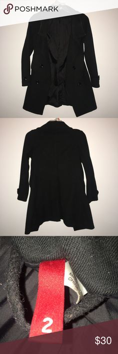 H&M Black Wool-Blend Coat Brand: H&M   Good condition, Hole inside left pocket(can be fixed by seeing it) H&M Jackets & Coats