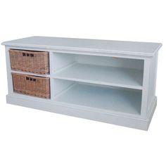 TV Sideboard TOSCANA 2 Körbe weiß H51cm Fernsehtisch - Der TV-Unterschrank aus Holz mit 2 Rattankörben und 2 Ablagefächern. Das Sideboard ist antikweiß und rustikal gearbeitet.