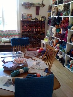 I want a yarn store like this one. It looks like you're hanging out in some crazy yarn lady's living room. Wool Shop, Yarn Shop, Knitting Room, Knitting Yarn, Day Room, Yarn Storage, Woman Cave, Craft Day, Hobby Room