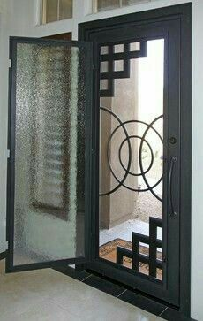 Iron Entry Doors - modern - front doors - phoenix - First Impression Security Doors.( I like this idea! Wrought Iron Security Doors, Windows And Doors, Entrance Doors, Iron Security Doors, Entrance Door Design, Gate Design, Iron Entry Doors, Front Door Design, Steel Doors