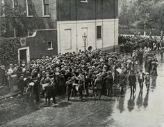 German reservists gathered in front of the German consulate in London waiting for instructions on how to join their units shortly before the British declaration of war on Germany, 1914.