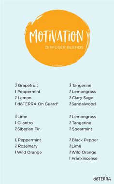 Need some extra motivation to get you through the day or a big project? Try one of these diffuser blends. Diffuse in the kitchen or your room as you're getting ready in the morning, or in the car on the way to work or school. You can even add these to a diffuser bracelet or necklace. #motivation #essentialoil #diffuserblends Essential Oil Diffuser Blends, Essential Oil Uses, Doterra Essential Oils, Doterra Diffuser, Doterra Blends, Doterra Motivate, Diffuser Recipes, Aromatherapy Oils, Pepper