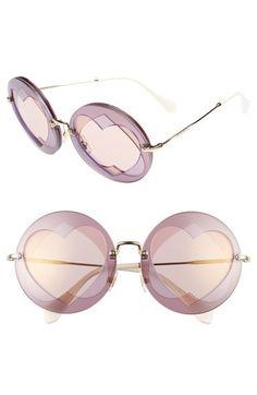 54f80babb87e Miu Miu 62mm Heart Inset Round Sunglasses