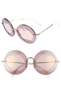 Miu Miu 62mm Heart Inset Round Sunglasses available at #Nordstrom