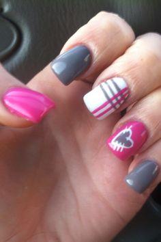 Simple valentine nails