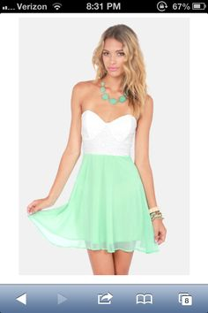 Mint lace party dress