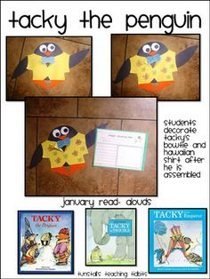 Tacky Templates and a main character writing page for students to fill out after your Tacky the Penguin book of choice!