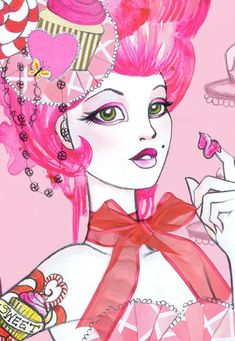 Marie Antoinette Pink Cupcake Fashion Illustration Print by LeilaniJoyArt on etsy