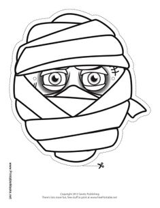 Color In This Fun Male Mummy Mask For An Instant Halloween Costume Big Eyes And