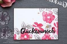 Glückwunschkarte mit Blumen in schwarz, Schiefergrau und Wassermelone